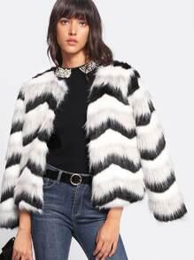 Chevron Striped Faux Fur Coat