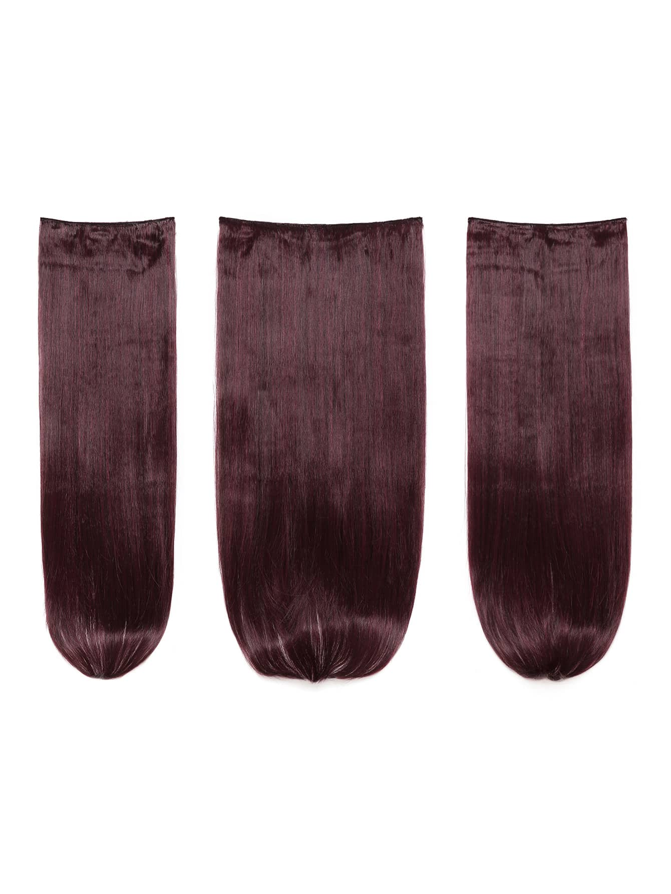 Black & Burgundy Clip In Straight Hair Extension 3pcs
