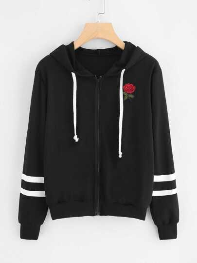Rose Embroidered Patch Varsity Striped Jacket
