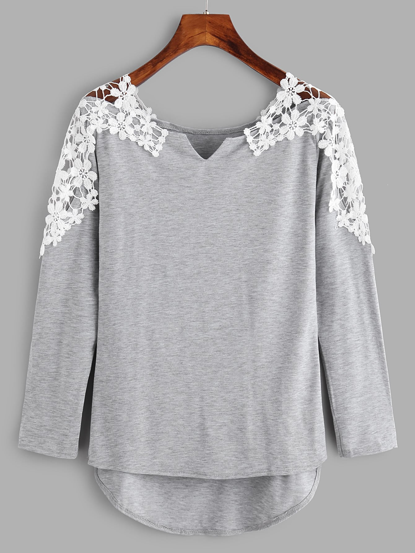 Contrast Crochet V Cut High Low Marled Tee tee171116303