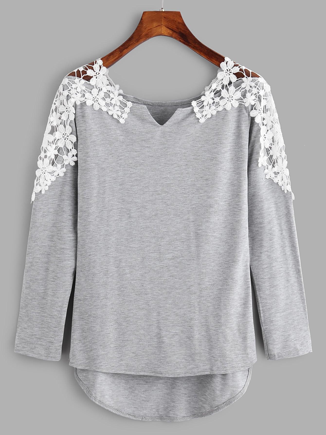 Contrast Crochet V Cut High Low Marled Tee tee171116303