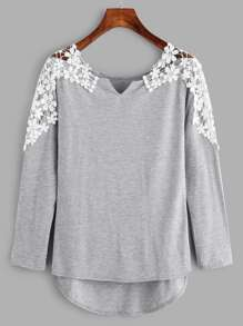 Contrast Crochet V Cut High Low Marled Tee ROMWE