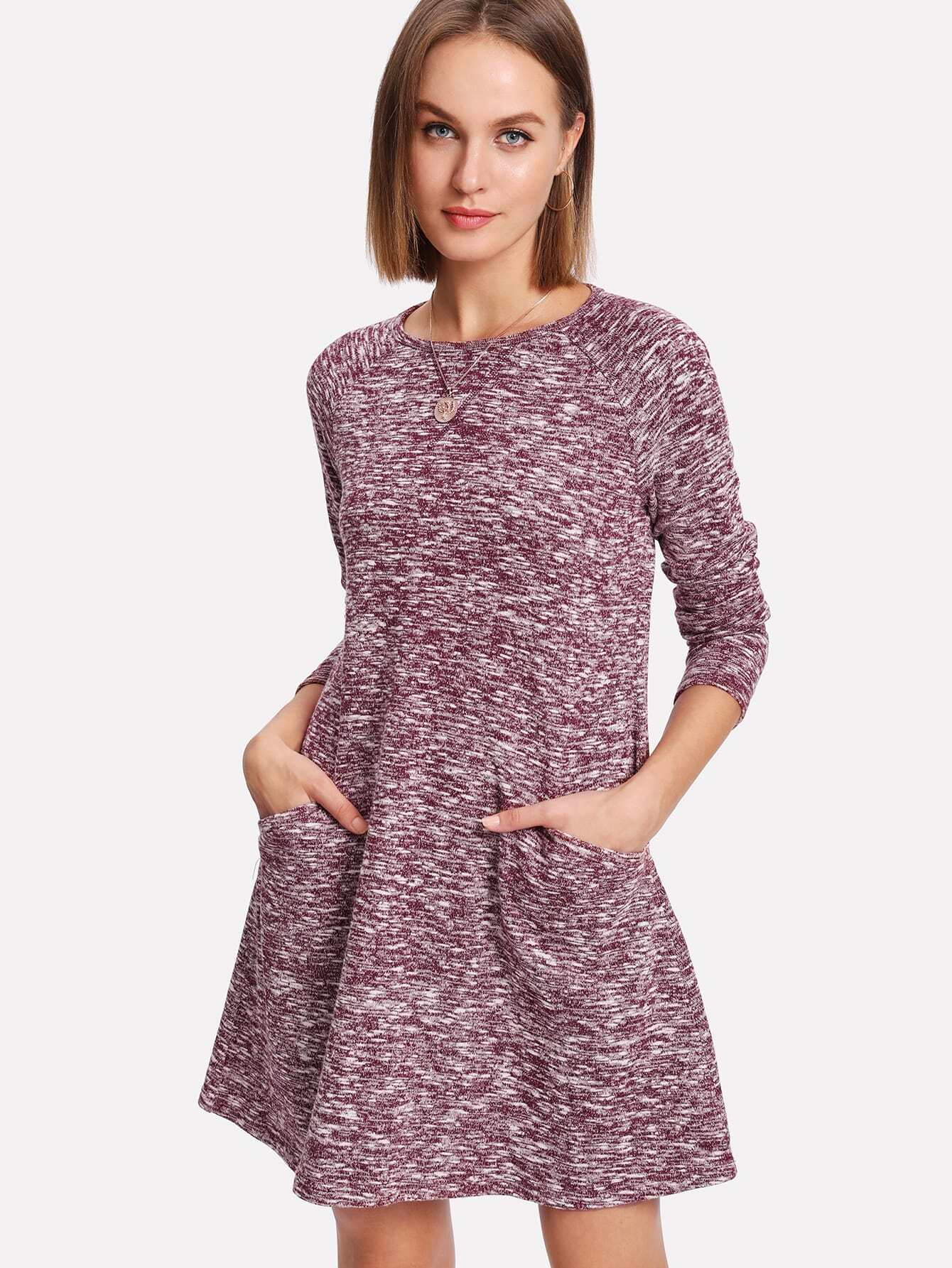 Raglan Sleeve Marled Knit Dress raglan sleeve binding marled crop top