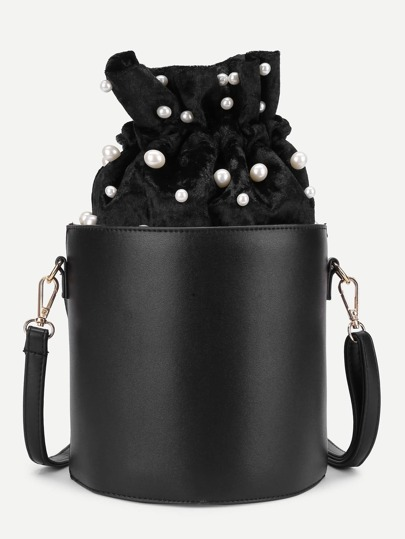 Faux Pearl Detail PU Bucket Bag