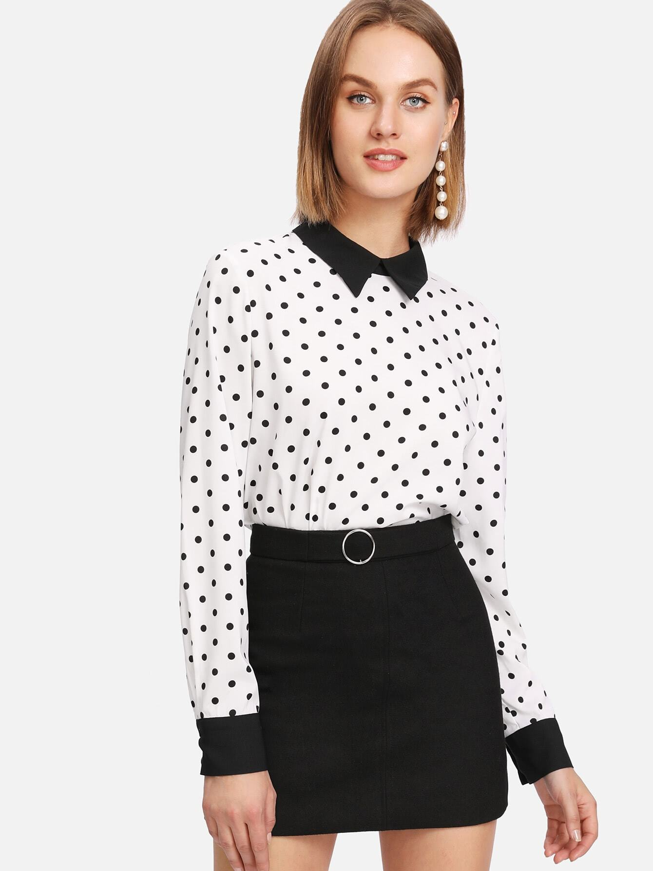 Contrast Collar Curved Hem Polka Dot Blouse polka dot slit hem contrast dress