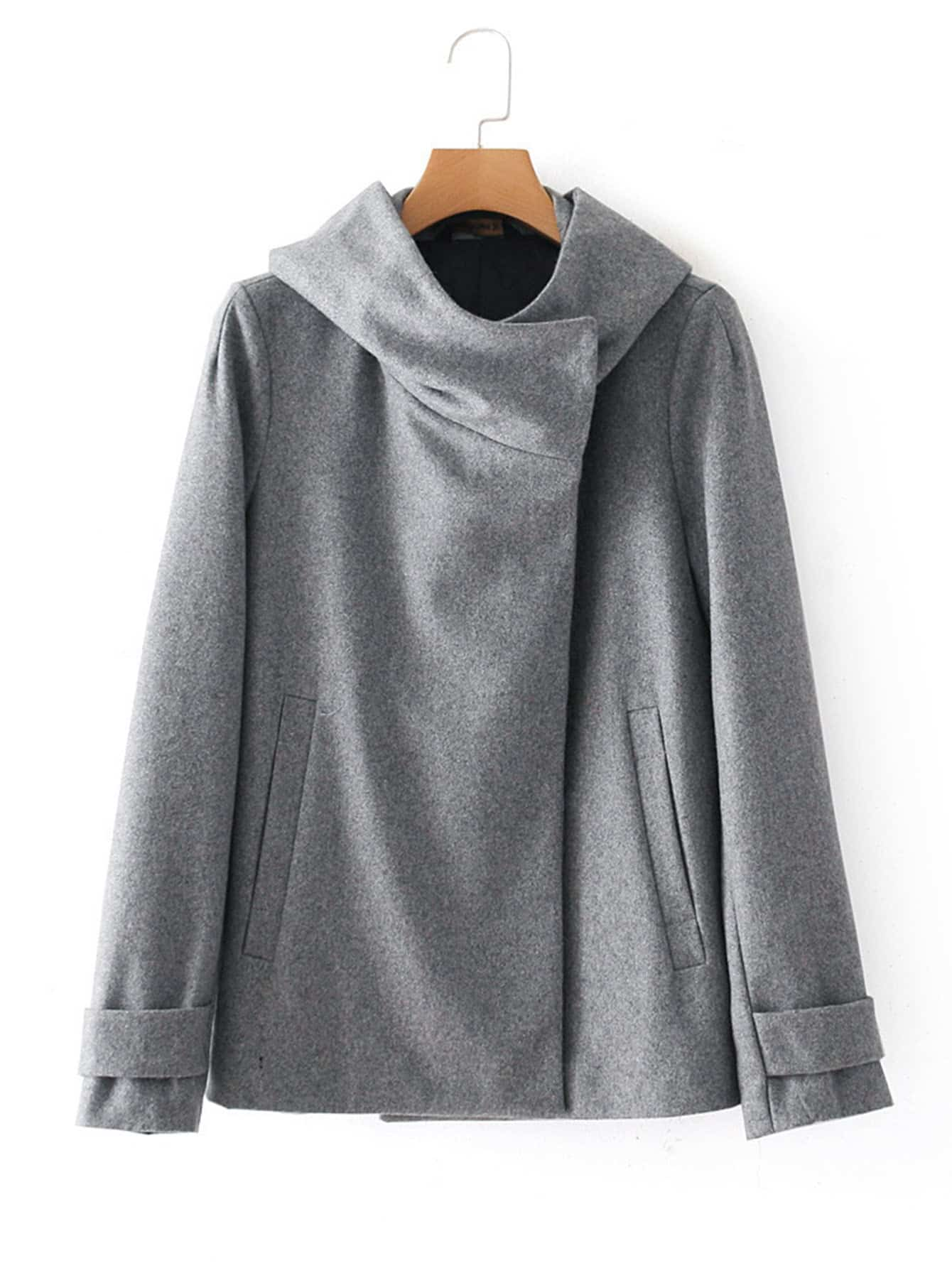 Image of Oversized Collar Wool Blend Coat