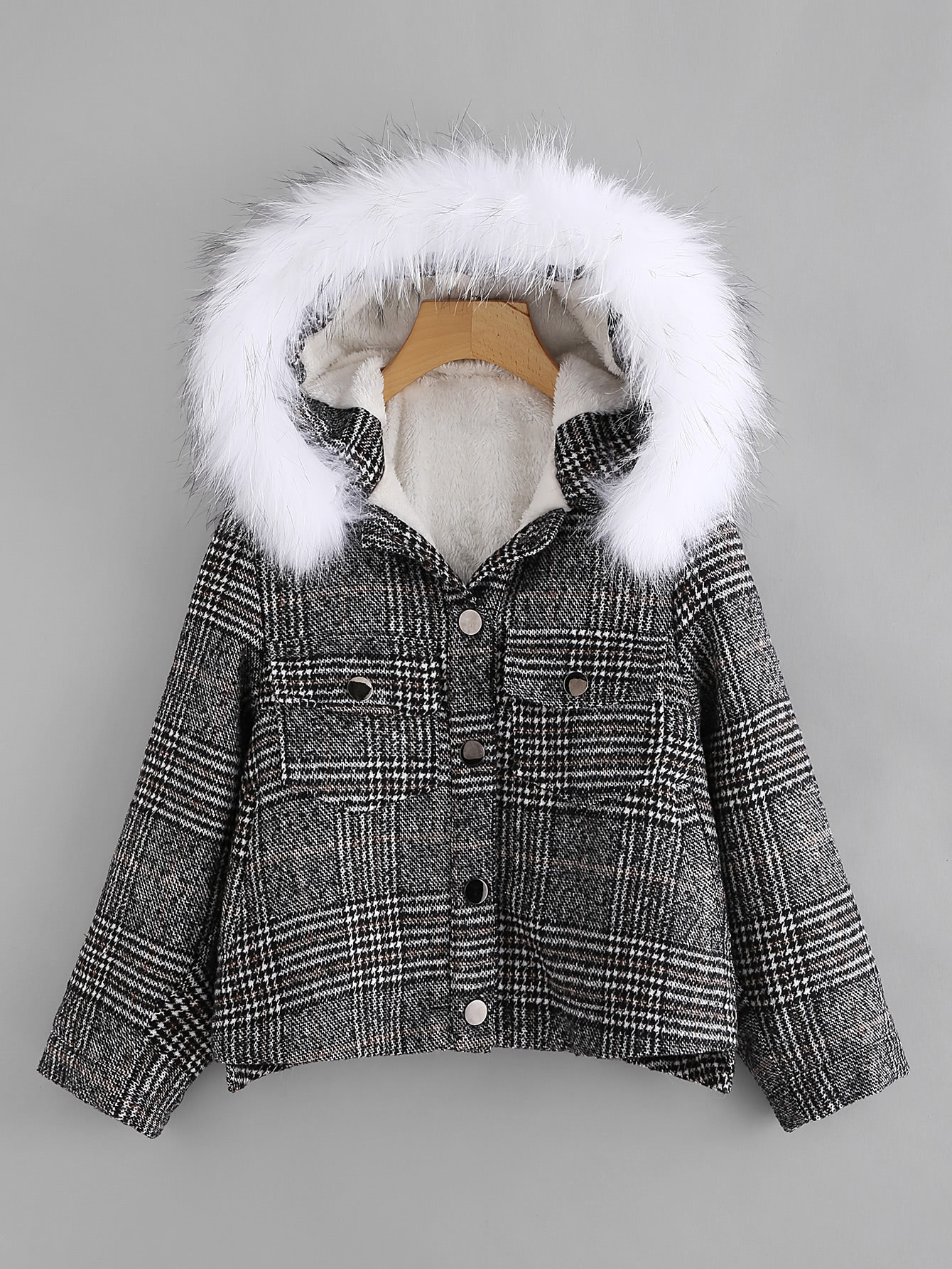Contrast Fur Hooded Checked Coat 2017 winter new clothes to overcome the coat of women in the long reed rabbit hair fur fur coat fox raccoon fur collar