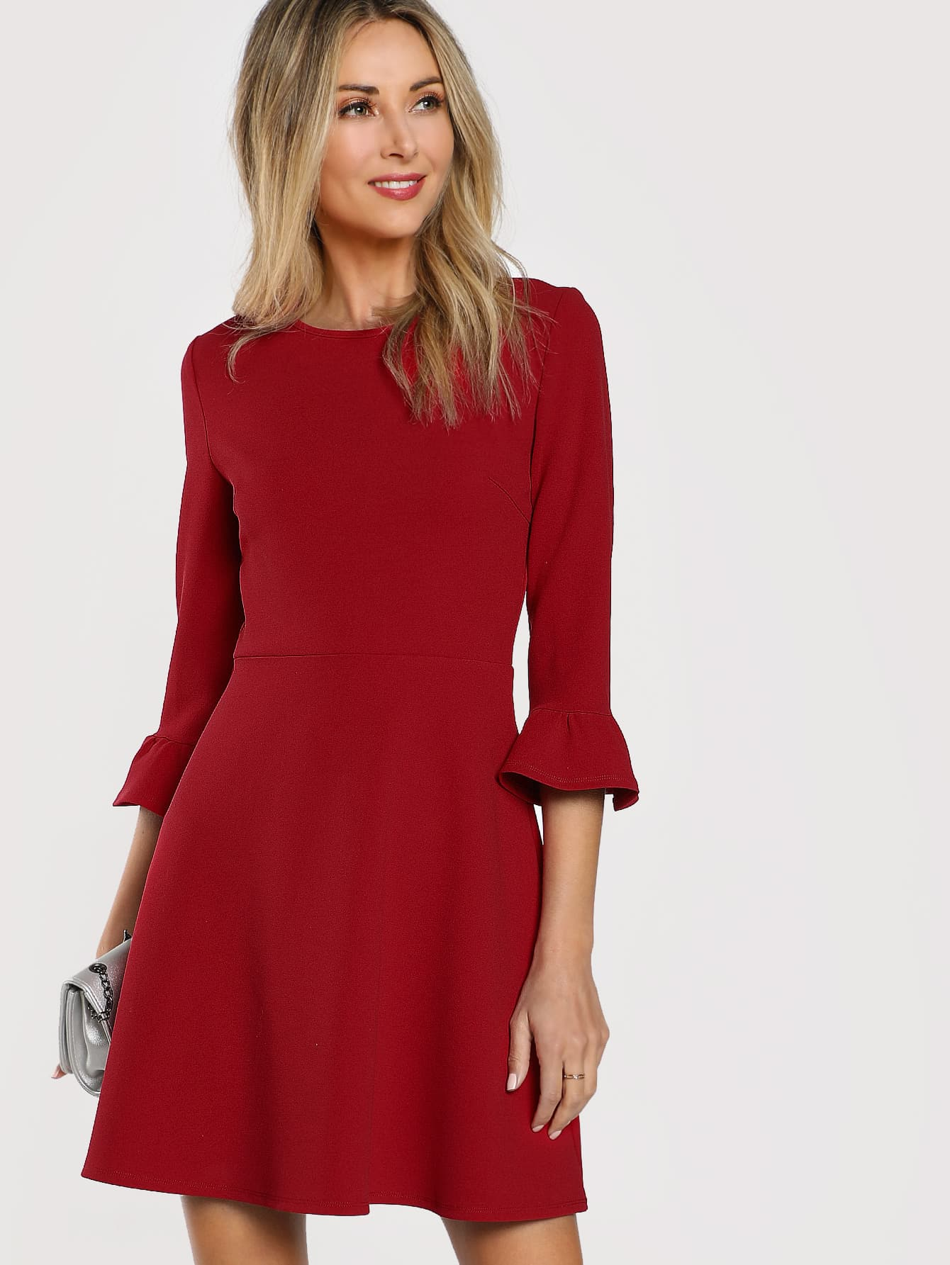 Ruffle Cuff Fit And Flare Dress zip back fit and flare splicing dress