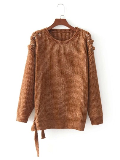 Eyelet Lace Up Chenille Sweater