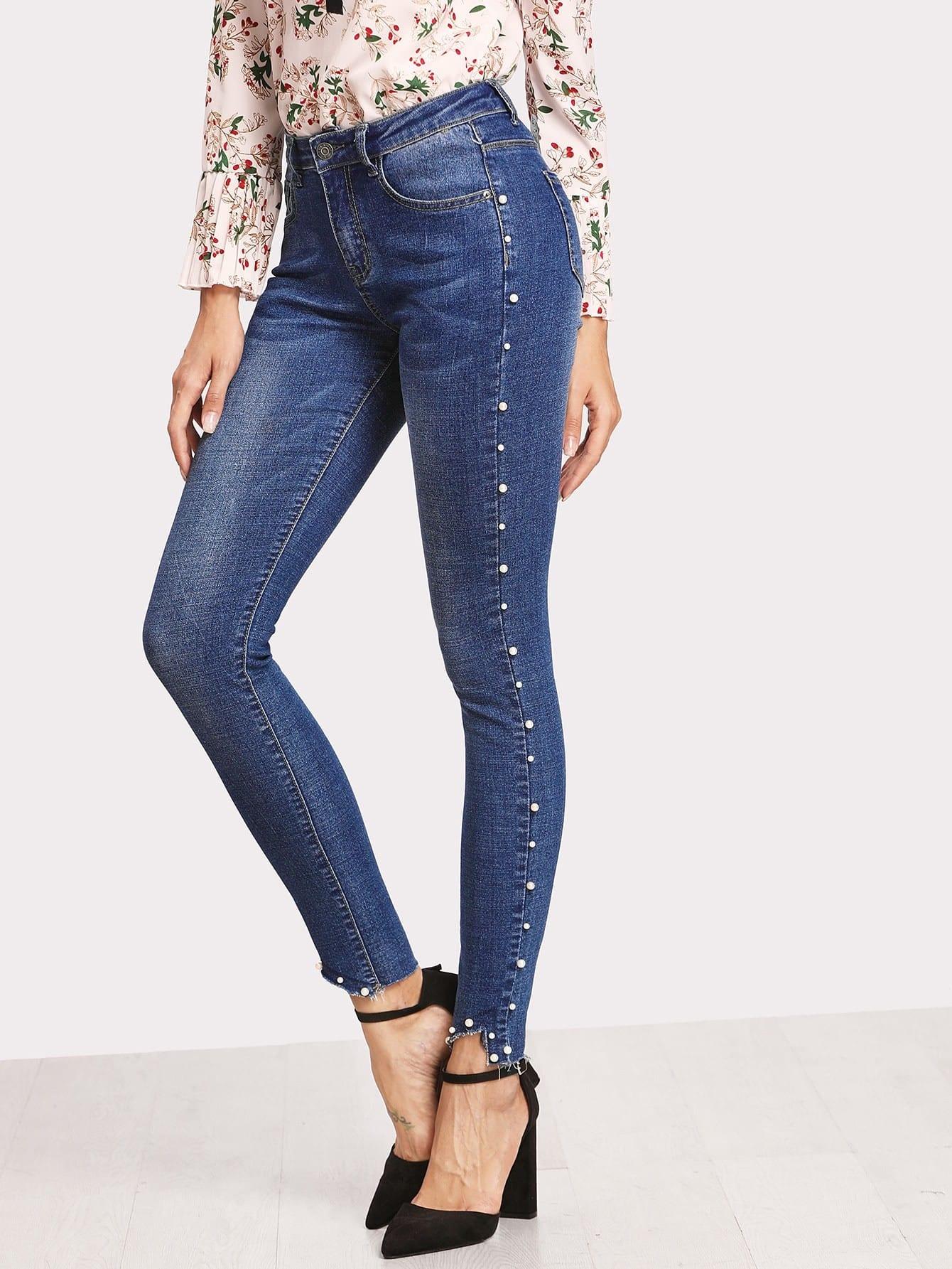 Pearl Beaded Raw Hem Skinny Jeans