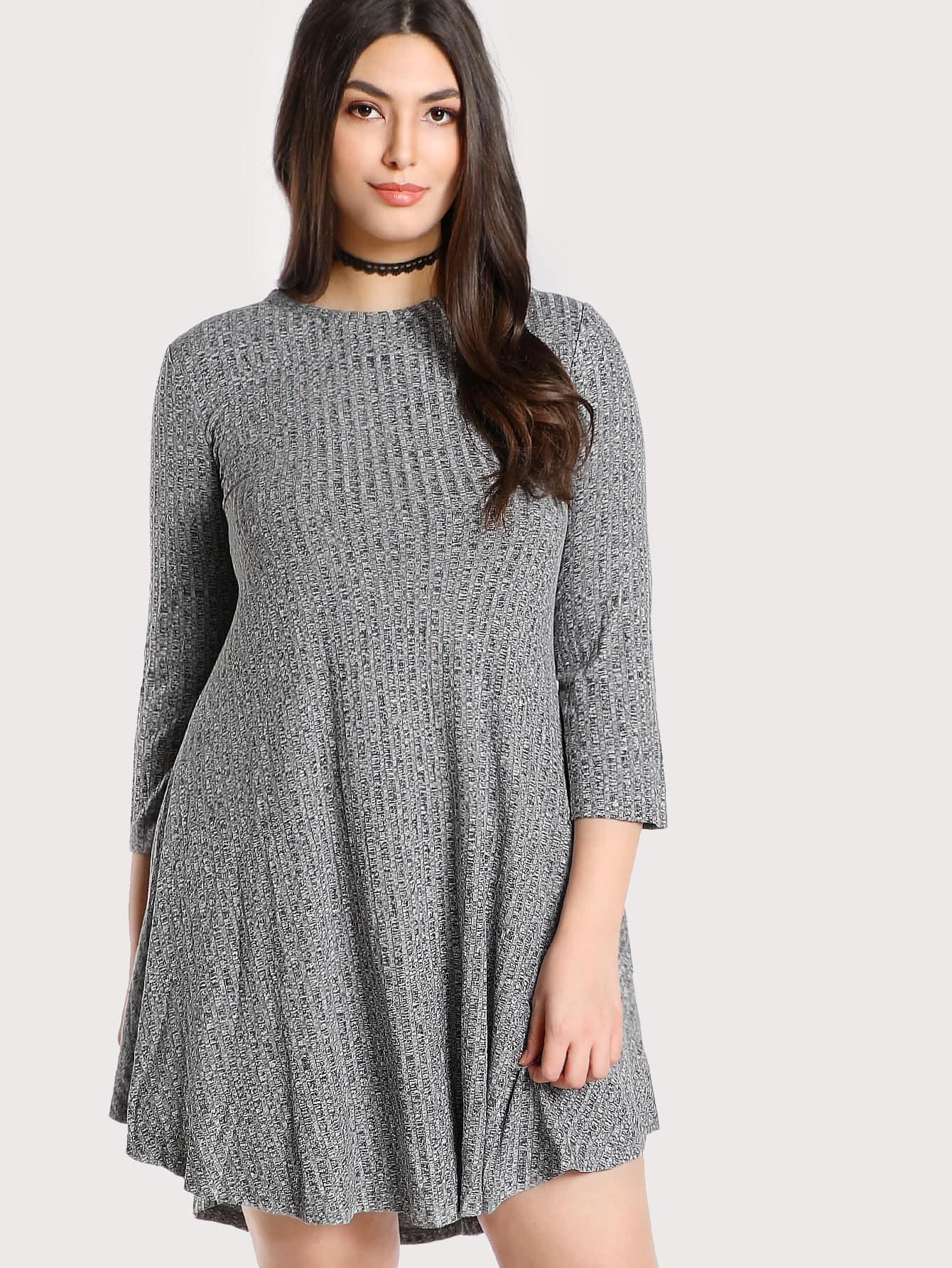 Plus Marled Rib Knit Swing Tee Dress rib knit tights
