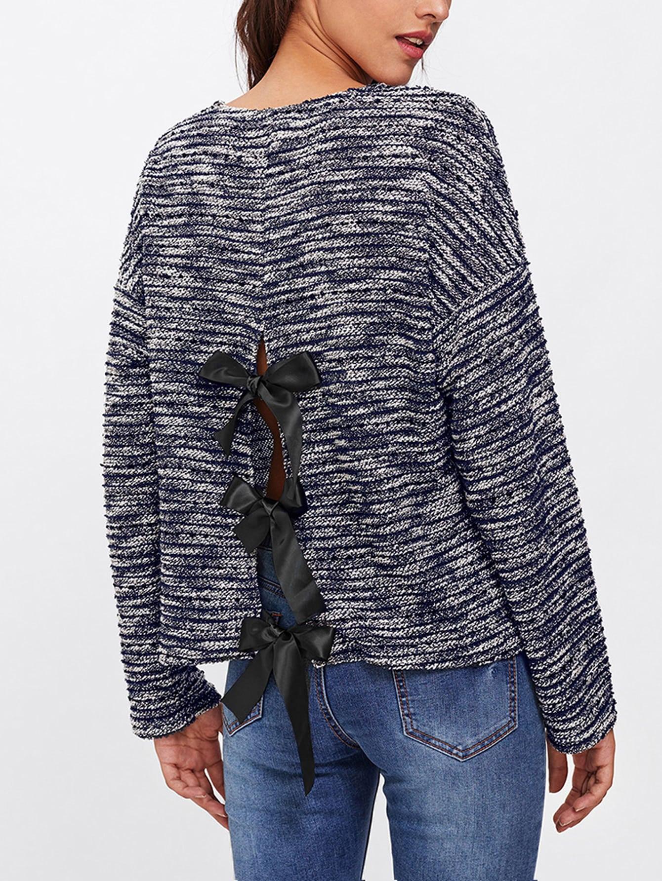 Bow Tie Split Back Space Dye Tee tee171017707
