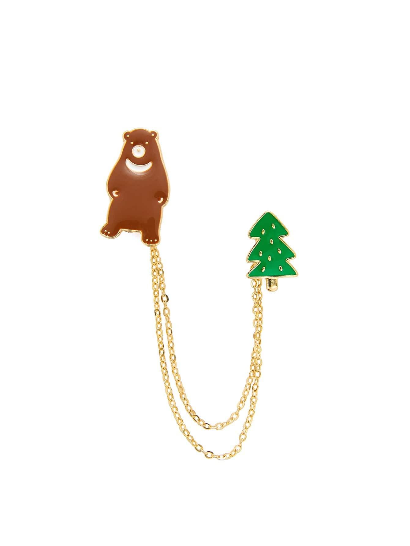 Bear & Tree Design Chain Brooch