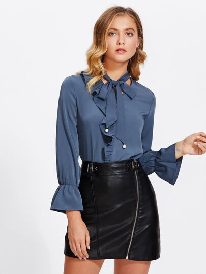 Tie Neck Flare Sleeve Ruffle Shirt