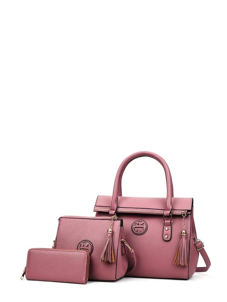 Tassel Detail PU Bag Set 3pcs