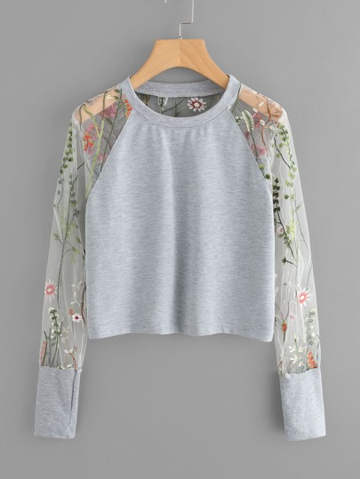 Floral Embroidered Sheer Mesh Panel Sleeve Sweatshirt