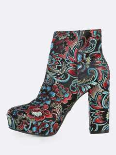 Oriental Inspired Fabric Boots BLACK