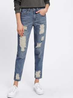 Shredded Mid Wash Jeans