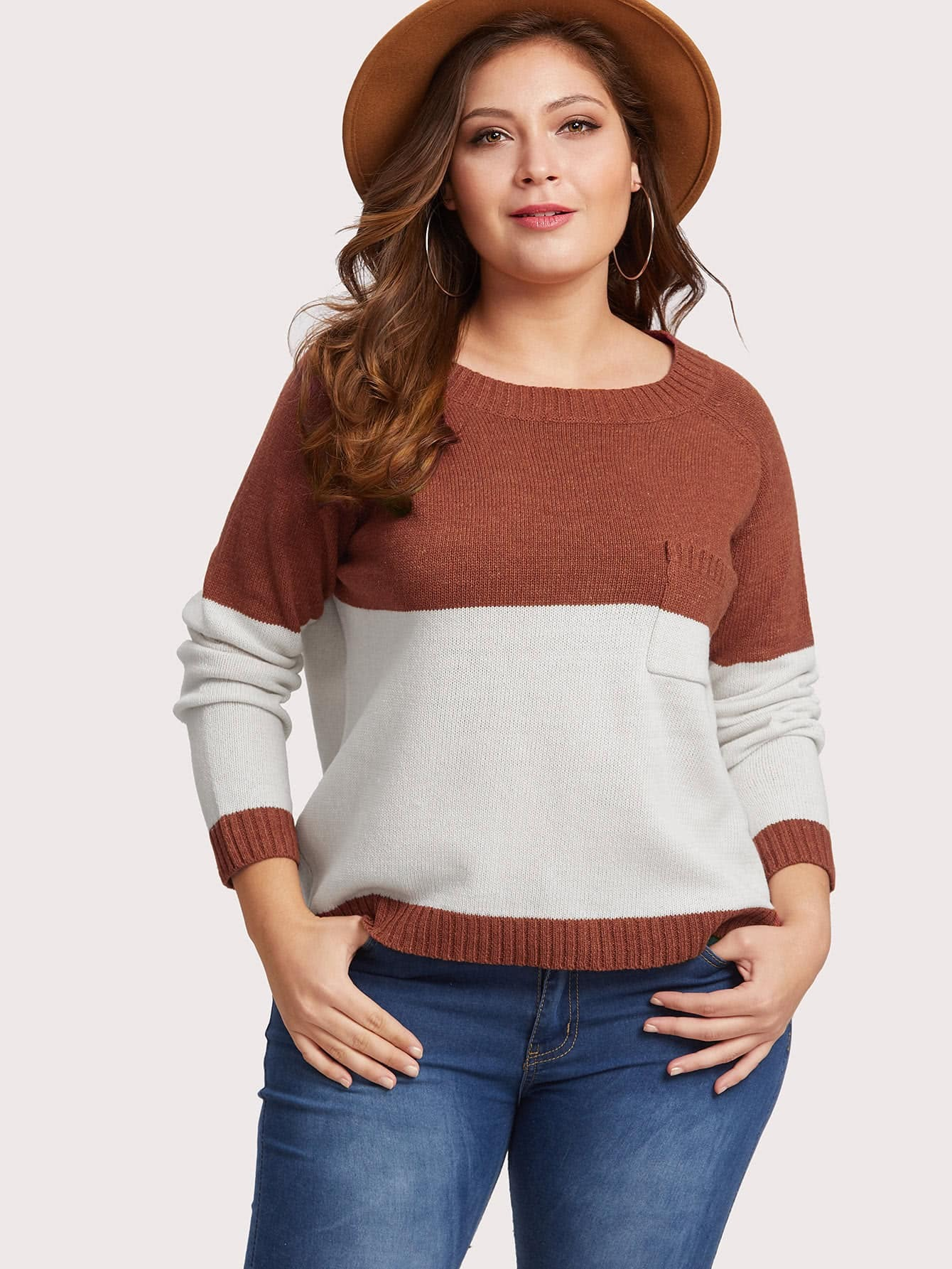 Two Tone Raglan Sleeve Pocket Detail Sweater