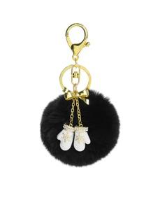 Porte-clés de Noël design de gant en strass avec pompon