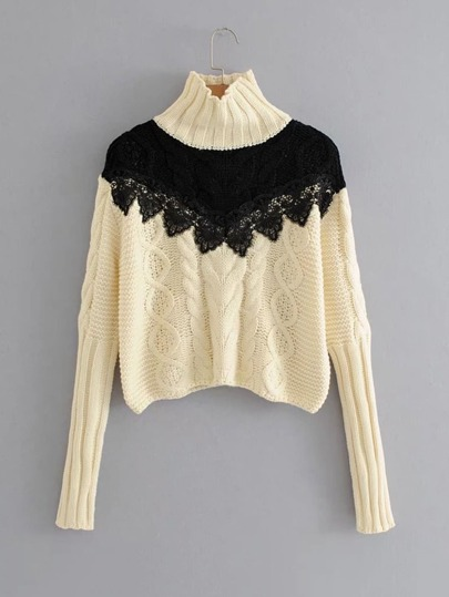 Contrast Lace Crochet Cable-knit Sweater
