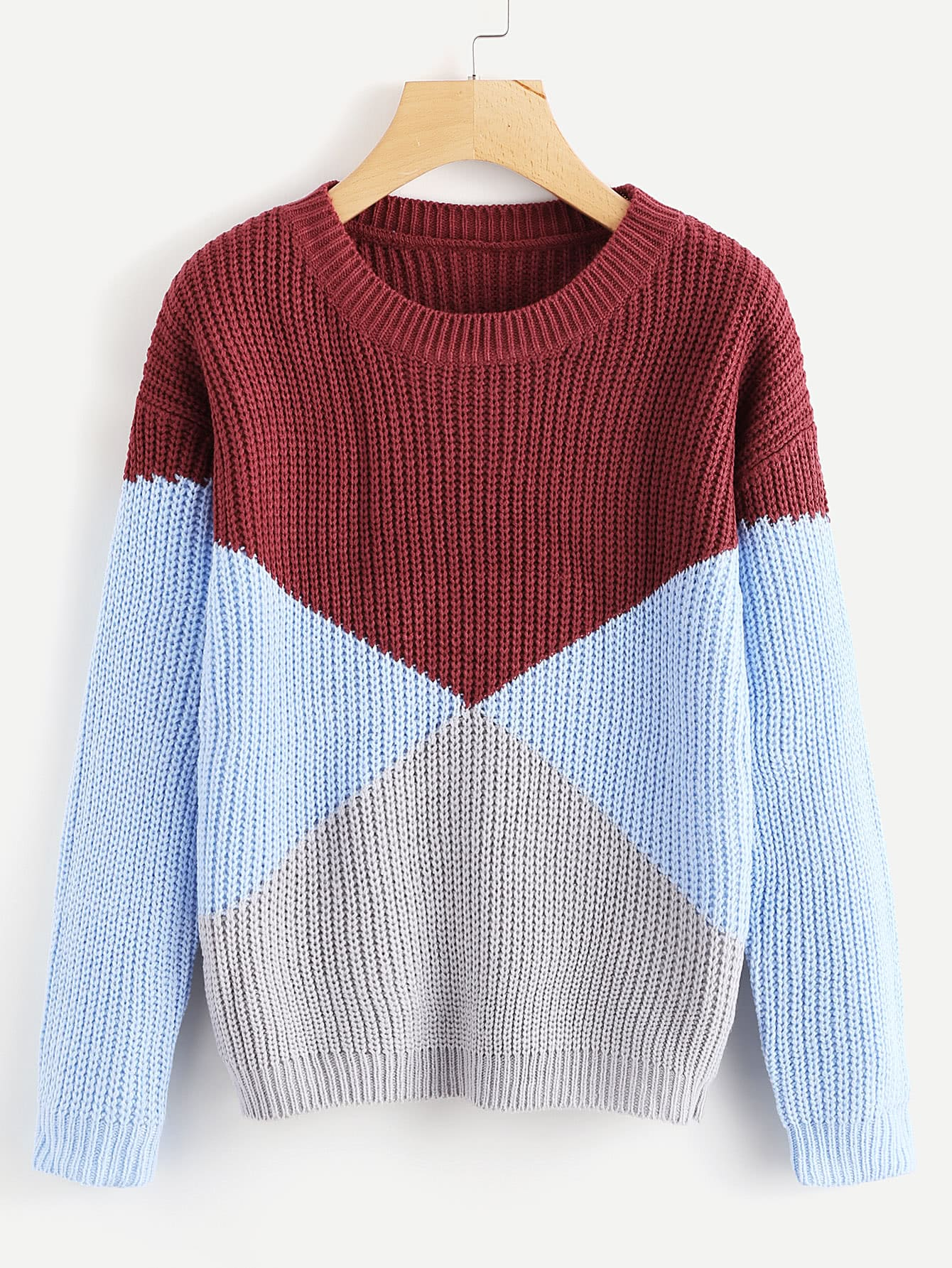 Color Block Chunky Knit Sweater color block chunky knit sweater