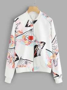Hand Fan Print Zip Up Jacket