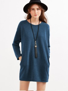 Drop Shoulder Pockets Dress