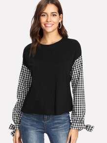 Contrast Gingham Sleeve Sweatshirt