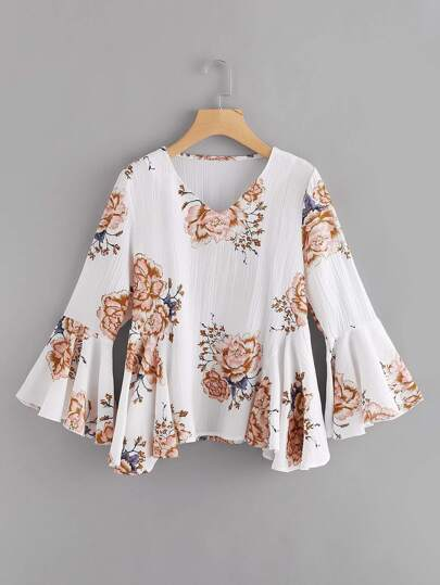 Fluted Sleeve Floral Print Top