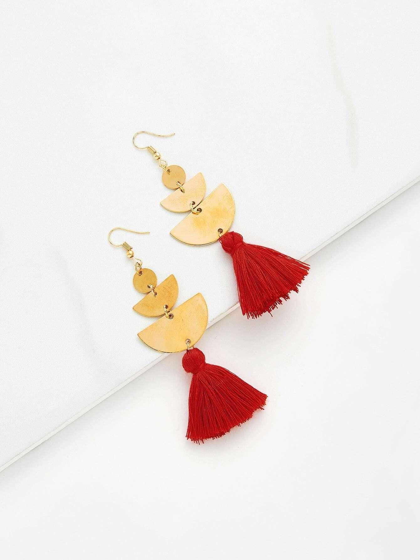Sequin Detail Tassel Drop Earrings tassel drop rhinestone detail earrings