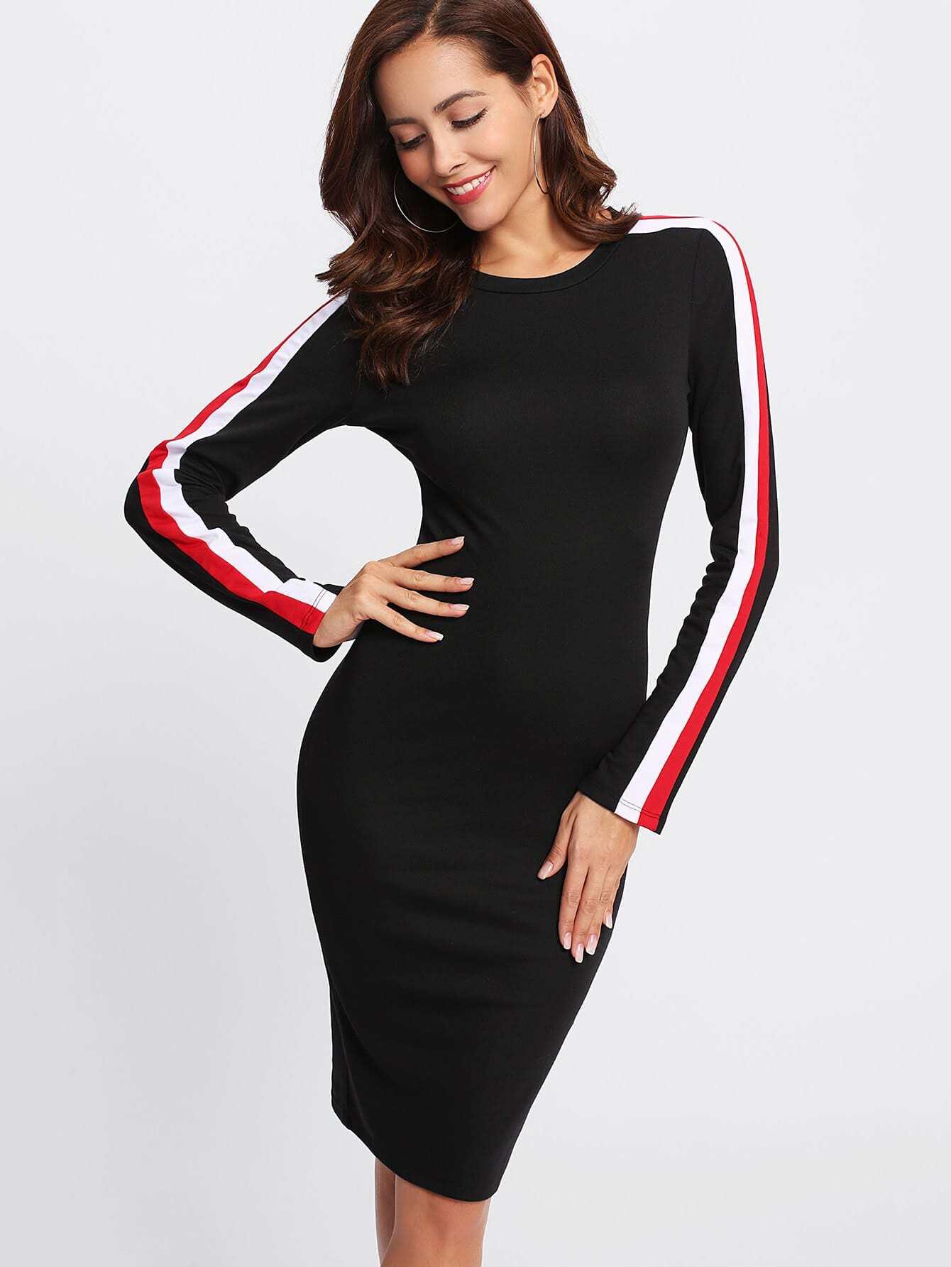 Striped Sleeve Form Fitting Dress metallic form fitting dress