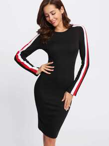 Striped Sleeve Form Fitting Dress