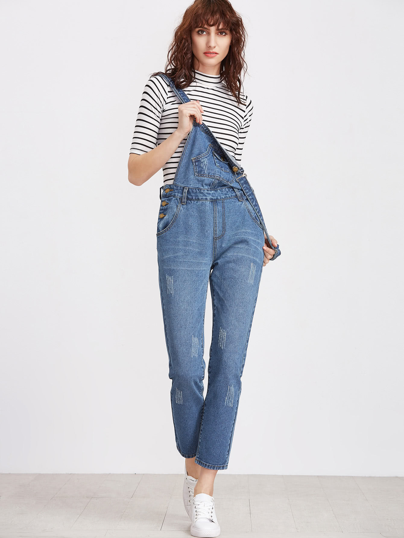 Image of Bleach Wash Denim Overalls