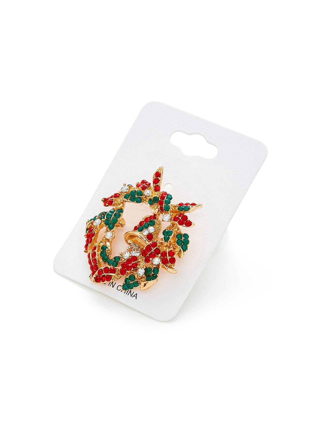 Christmas Rhinestone Bell Design Brooch hollow enamel christmas bell floral brooch