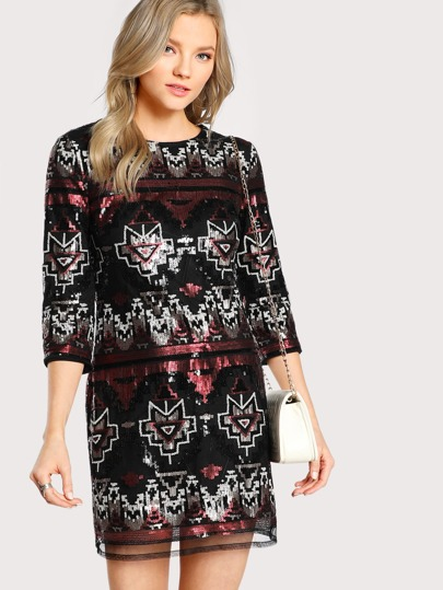 Tribal Print Sequin Dress