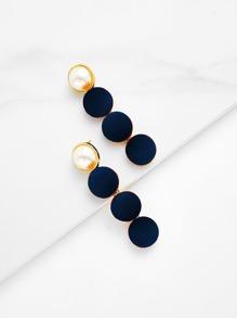 Pearl & Button Design Drop Earrings