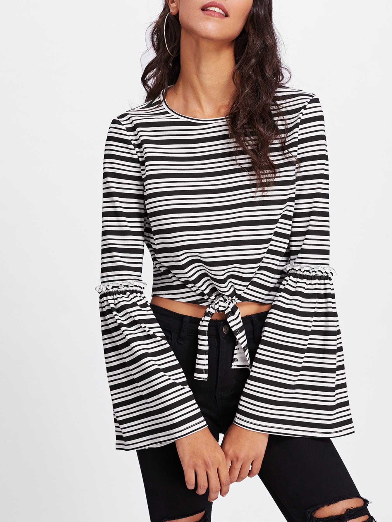 Frilled Detail Fluted Sleeve Knot Crop Top dot mesh overlay frill detail fluted cuff top