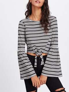 Frilled Detail Fluted Sleeve Knot Crop Top