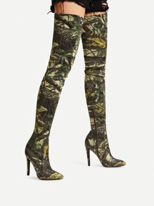 Mixed Pattern Side Zipper Over Knee Boots