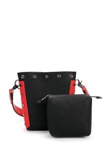 Contrast Trim Studded Combination Bag 2pcs