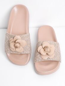 Flower Decorated Slip On Slippers