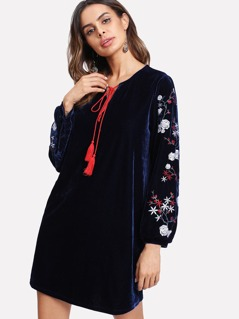 Embroidered Sleeve Tasseled Tied Neck Velvet Dress