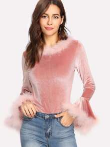 Faux Fur Trim Velvet Top