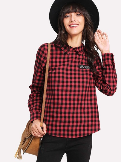 Button Detail Curved Hem Tartan Blouse
