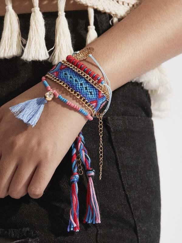Tassel Detail Beaded & Woven Bracelet Set 4pcs