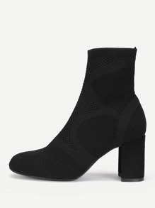 Knit Design Block Heeled Ankle Boots
