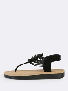 Glitter Accent Thong Sandal BLACK
