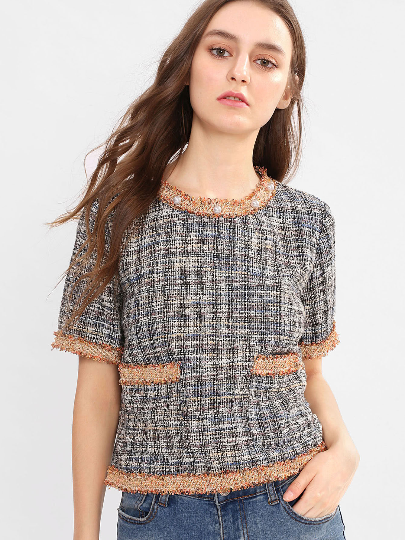 Pear And Raw Cut Detail Tweed Top lisa corti короткое платье