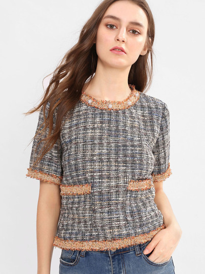 Pear And Raw Cut Detail Tweed Top